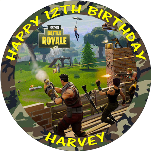 FORTNITE BATTLE ROYALE PERSONALISED ROUND BIRTHDAY CAKE EDIBLE TOPPER